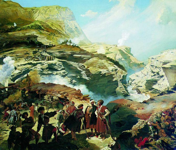 Г.Гагарин. Сражение при Ахатле 8 мая 1841 года, 1841-42. Музей Александра III (Государственный Русский музей), Санкт-Петербург