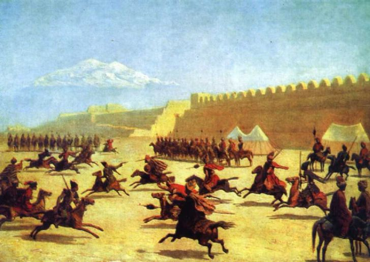 Г.Гагарин. «Джигитовка курдов и татар перед крепостью Сардар-Аббат в Армении», 1840-е