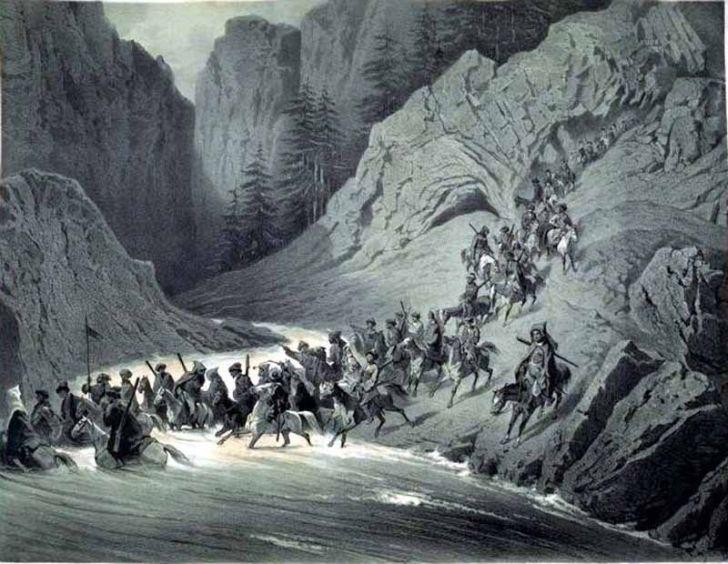 Г.Гагарин. «Партия черкесов спускается с гор, для набега», 1851-1862