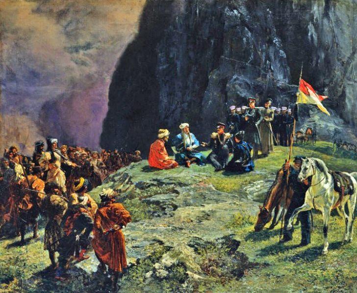 Г.Г.Гагарин. «Свидание Шамиля с Клюки фон-Клюгенау в 1837 году», 1849. Государственная Третьяковская галерея, Москва