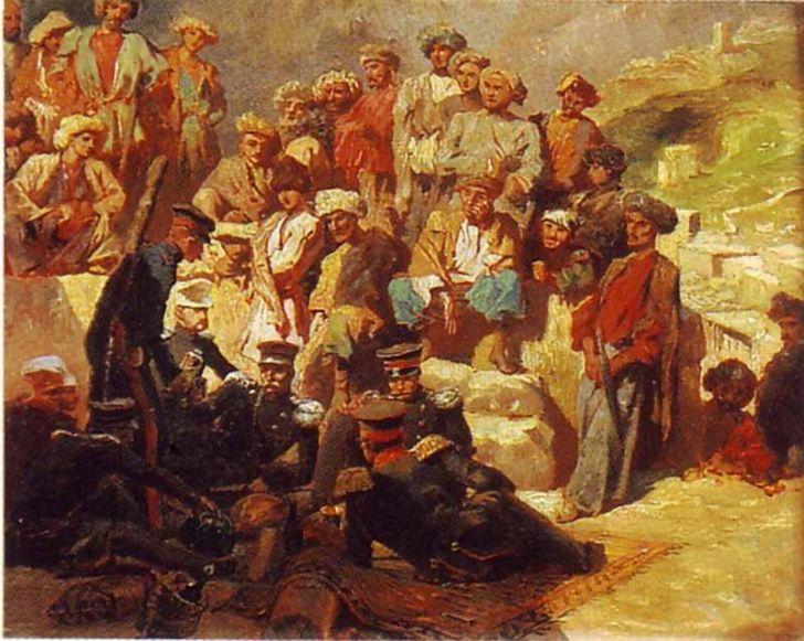 Г.Гагарин. «Офицеры на привале в ауле Сиук», 1840-1842