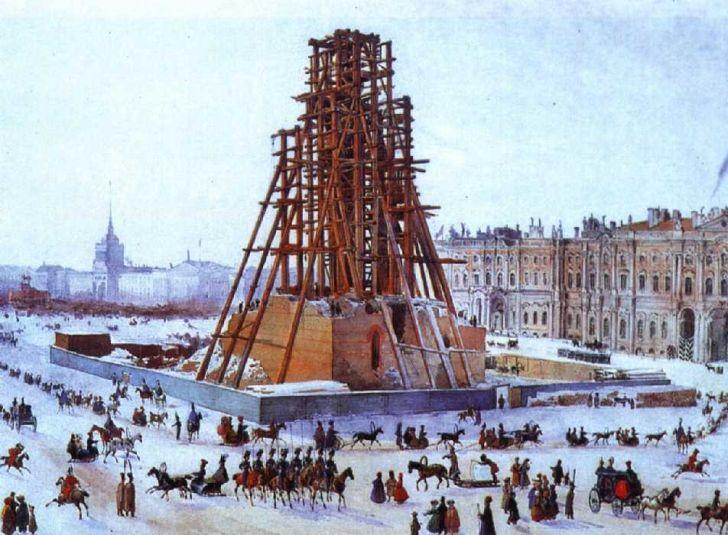 Г.Гагарин. Александровская колонна в строительных лесах. 1832-33 гг.