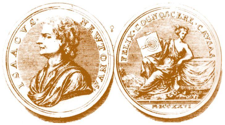 Медаль, выбитая в честь Ньютона, 1726