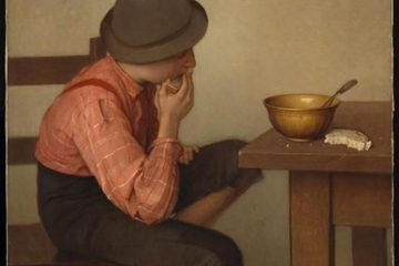 Оазис Ледюк (Oazias Leduc 1864-1955). Ребенок с хлебом (1892-1899), масло, холст. Музей изящных искусств Канады, Оттава
