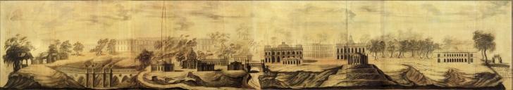 Панорама села Царицына. Проектный чертеж Василия Баженова и Матвея Казакова. 1776.