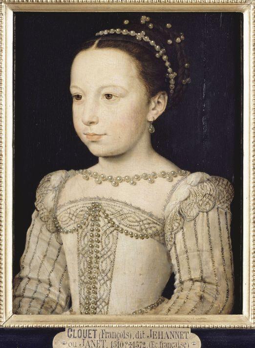 Франсуа Клуэ (1515-1572). Портрет Маргариты де Валуа в юном возрасте. 29,7 х 21,3 см. Гуашь, картон. После 1559 г. Музей Конде, Замок Шантийи, неподалеку от Парижа.