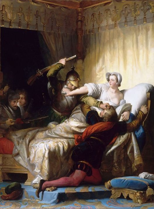 Александр-Эварист Фрагонар (1780–1850). Сцена в спальне Маргариты Наваррской в Лувре в Варфоломеевскую ночь 24 августа 1572 года. 1836. Лувр, Париж.