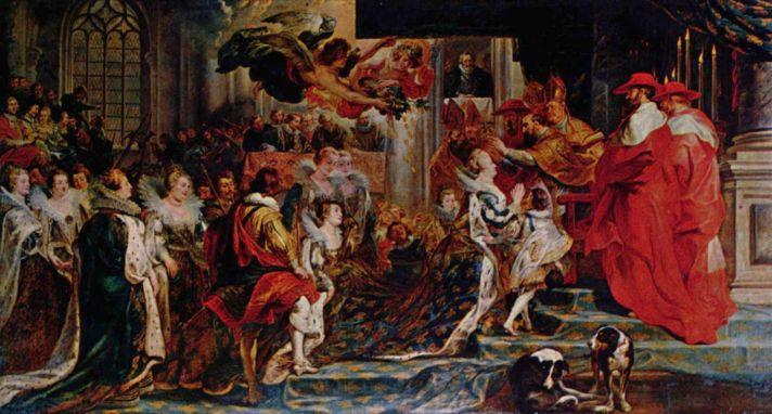 Пауль Питер Рубенс (1577–1640). Коронация Марии Медичи в Сен-Дени. Около 1622–1625. Масло, холст. 394 х 727 см. Лувр, Париж. Галерея Медичи. Шестая слева на переднем плане – Маргарита де Валуа, королева Наваррская.
