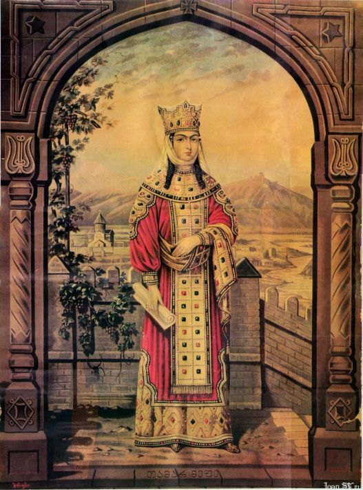 Святая благоверная царица Тамара Великая. Современная икона.