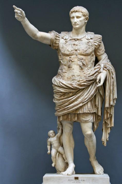 Неизвестный автор. Статуя Августа из Прима-Порта. 1 в. н.э. Белый мрамор. 204 см. Музей Кьярамонти, Ватикан.