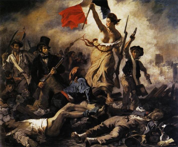 Эжен Делакруа (1798–1863). Свобода, ведущая народ (Свобода на баррикадах). 1830. Холст, масло. 260х325 см. Лувр-Ланс.