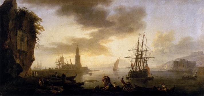 Клод Жозеф Верне (1714–1789). Морской пейзаж: Штиль. Между 1735 и 1740. Холст, масло. 78х156 см. Лувр, Париж.