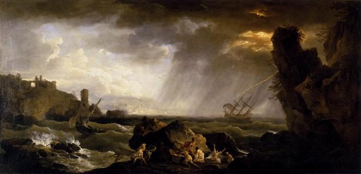 Клод Жозеф Верне (1714–1789). Морской пейзаж: Буря. Между 1735 и 1740. Холст, масло. 78х156 см. Лувр, Париж.