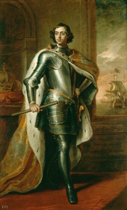 Годфри Неллер (1646-1723). Портрет царя Петра I. 1698. Холст, масло. 241,2х145,4 см. Королевская коллекция, Виндзор.