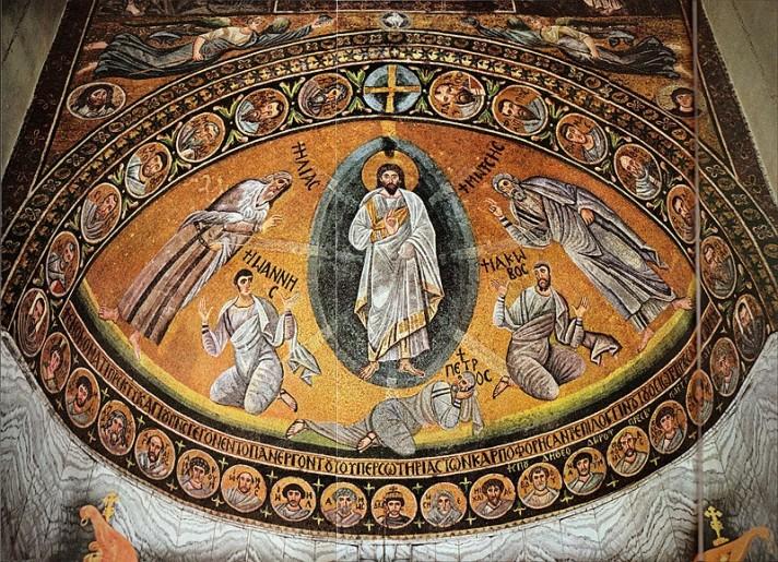 Неизвестный автор. Преображение Господне. Мозаика Базилики Преображения. Около 565-566 гг. Монастырь Св. Екатерины (Синайский монастырь), Синай.