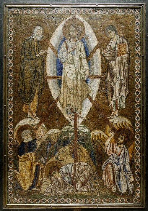 Неизвестный автор. Преображение Господне. Около 1200 года. 52х35 см. Мозаика на стукко (искусственном мраморе). Лувр, Париж.