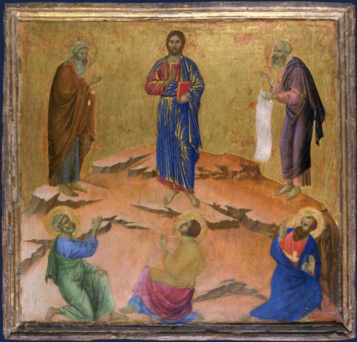 Дуччо ди Буонинсенья (1260-1319). Преображение Господне. 1308-1311. Темпера. 44х46 см. Лондонская национальная картинная галерея.