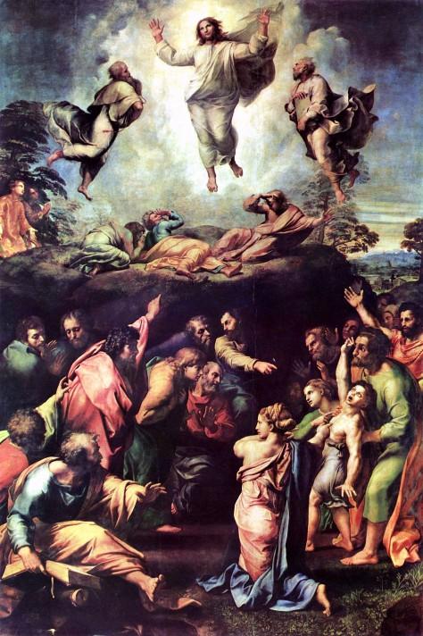 Рафаэль Санти (1483-1520). Преображение Господне. 1519-1520. Масло, дерево. 405х278 см. Пинакотека Ватикана, Ватикан.