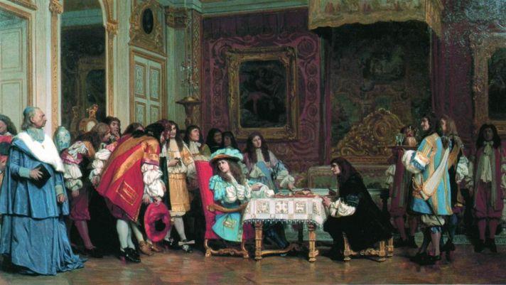 Жан-Леон Жером (1824-1904). Людовик XIV и Мольер. 1862. Холст, масло. 42х75 см. Публичная библиотека, Молден, Массачусетс.