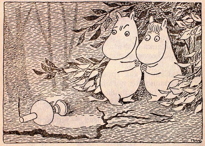 Туве Янссон. Муми-тролли. Рисунок 1957 г. В правом нижнем углу – подпись «Tove».