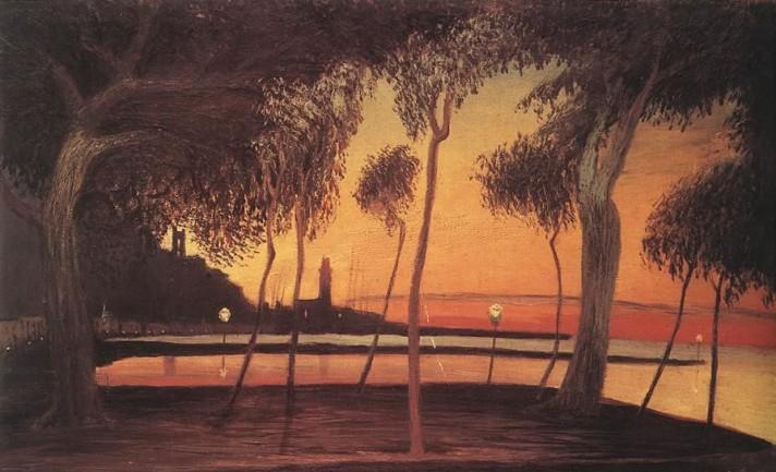 Чонтвари Костка (Csontváry Kosztka). Закат в Неаполитанском заливе (Naplemente a nápolyi öbölben), 1901