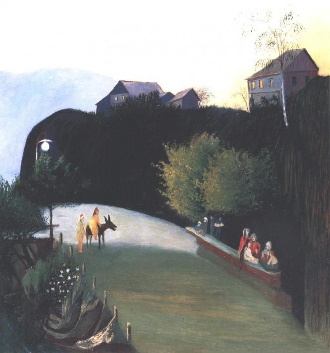 Чонтвари Костка (Csontváry Kosztka). Деревья, освещенные электрическим светом (Villanyvilágított fák Jajcéban), 1903