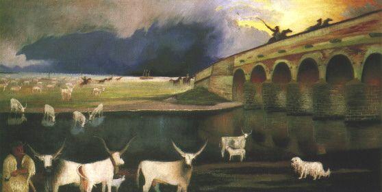 Чонтвари Костка (Csontváry Kosztka). Буря над Хортобадью (Vihar a Hortobágyon), 1903