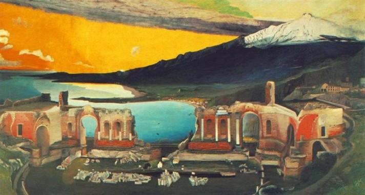 Чонтвари Костка (Csontváry Kosztka). Руины греческого театра в Таормине (A taorminai görög színház romjai), 1904-1905