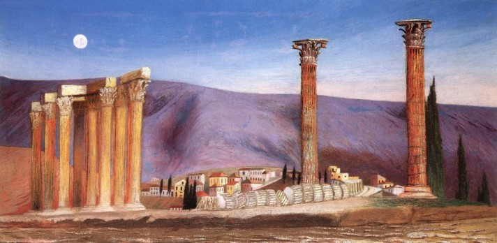 Чонтвари Костка (Csontváry Kosztka). Руины храма Юпитера в Афинах (A Jupiter-templom romjai Athénban), 1904