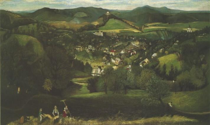 Чонтвари Костка (Csontváry Kosztka). Пейзаж в окрестности города Банска-Штьявница (Selmecbánya látképe), 1902
