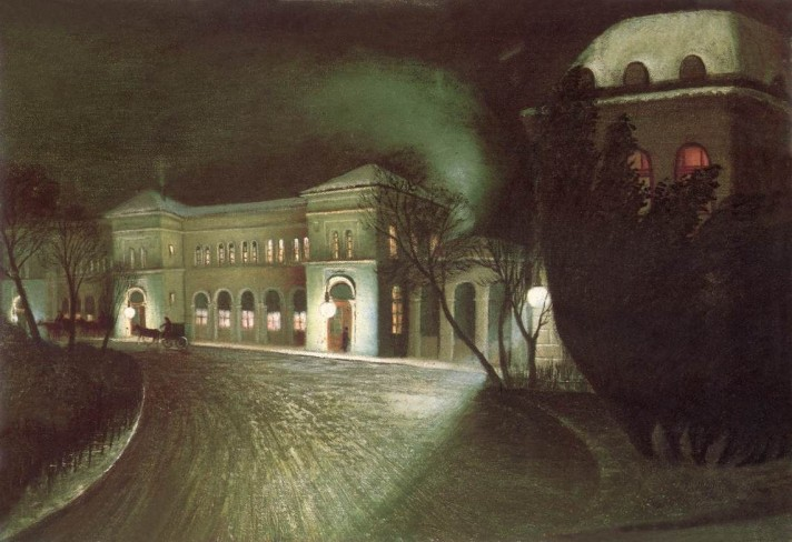 Чонтвари Костка (Csontváry Kosztka). Восточный железнодорожный вокзал ночью (A Keleti pályaudvar éjjel), 1902
