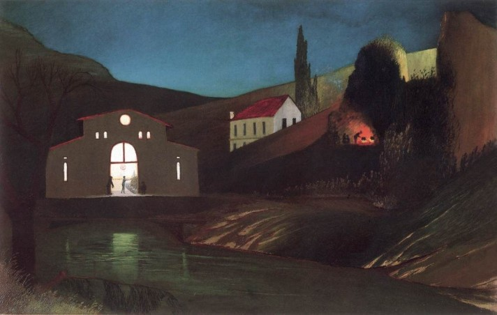 Чонтвари Костка (Csontváry Kosztka). Электростанция в Яйце ночью (Jajcei villanyerőmű éjjel), 1903