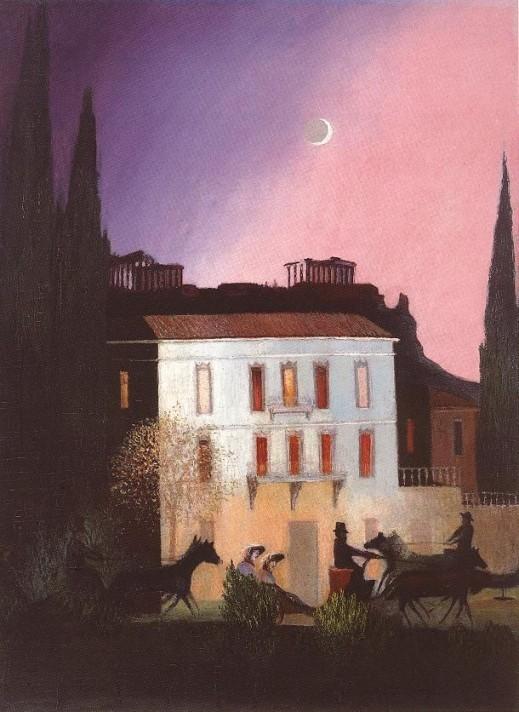 Чонтвари Костка (Csontváry Kosztka). Прогулка в карете при луне в Афинах (Sétakocsizás újholdnál Athénben), 1904
