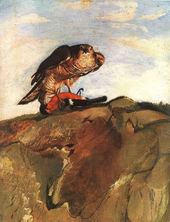 Чонтвари Костка (Csontváry Kosztka). Снегирь – добыча сарыча (Süvöltőt leterítő ölyv), 1893