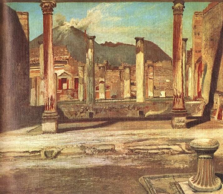 Чонтвари Костка (Csontváry Kosztka). Помпеи. Дом цирюльника на фоне Везувия (Pompeji Have (A Chirurgus háza a Vezúvval), 1897-98.