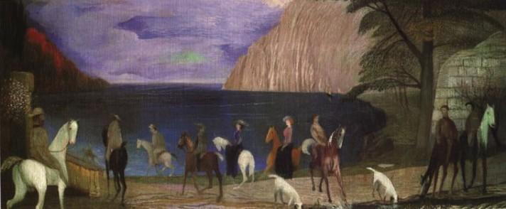 Чонтвари Костка (Csontváry Kosztka). Верховая езда на пляже (Sétalovaglás a tengerparton), 1909