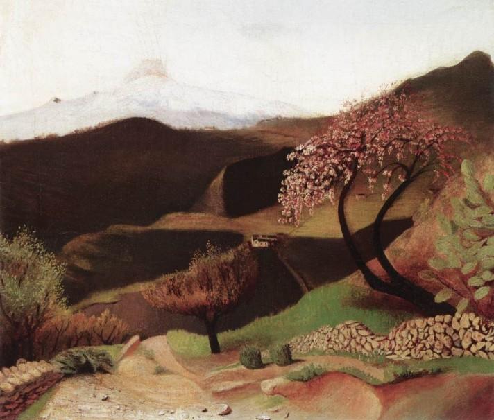 Чонтвари Костка (Csontváry Kosztka). Мидальное дерево. (Итальянский пейзаж) (Mandulavirágzás (Olaszországi táj), 1901-02