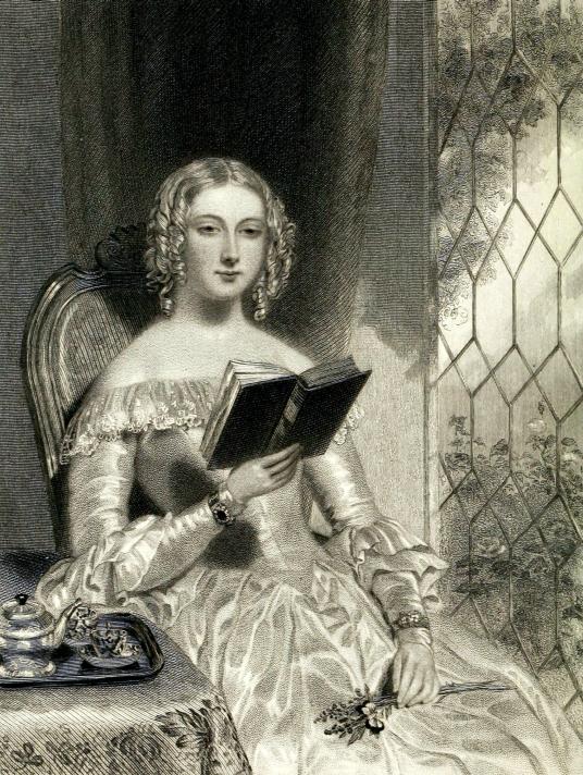 Мисс Бредвардини, героиня романа «Уэверли». Английская гравюра первой половины XIX века. Опубликована в издании «The Waverley Gallery», Нью-Йорк, 1866.