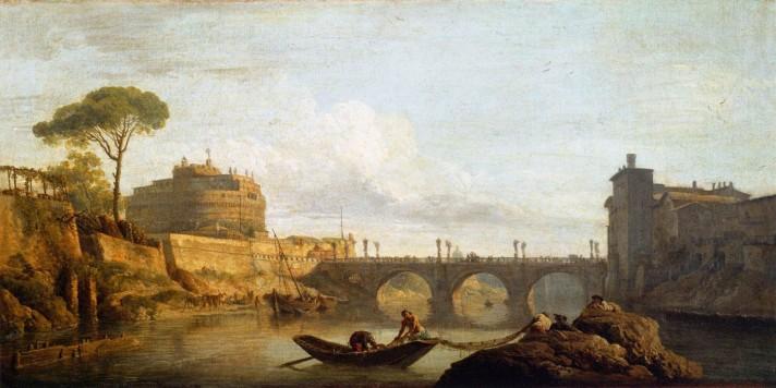 Клод Жозеф Верне (1714–1789). Мост и башня Сан-Анжело в Риме. 1745. Холст, масло. 40х77 см. Лувр, Париж.