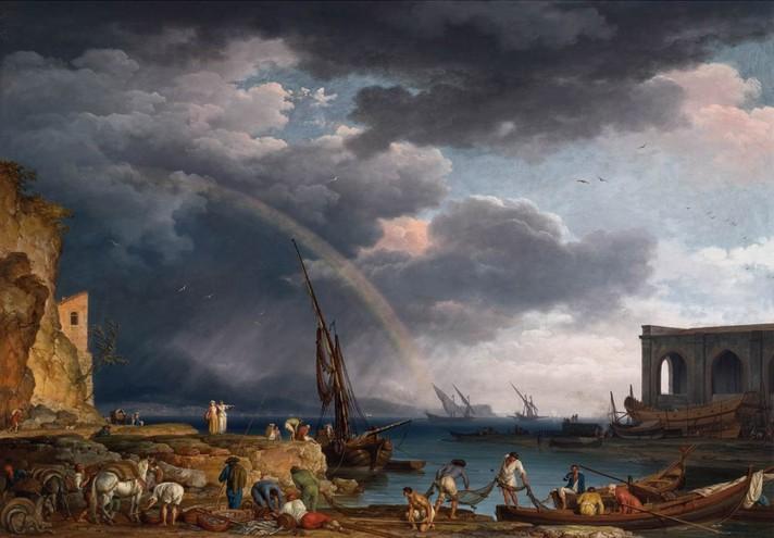 Клод Жозеф Верне (1714–1789). Прибрежный пейзаж с радугой. 1749. Холст, масло. 114х163 см. Частная коллекция.
