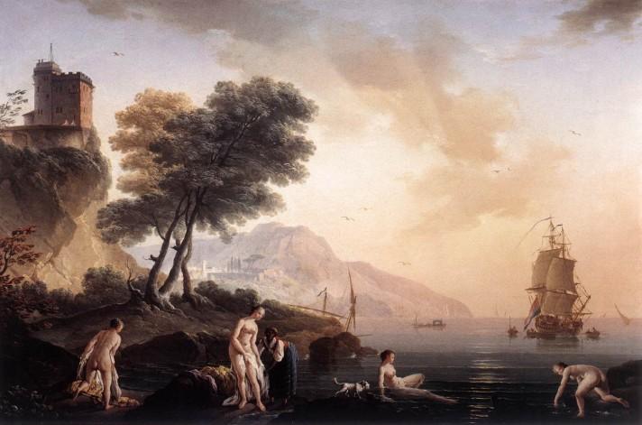 Клод Жозеф Верне (1714–1789). Купание девушек в море. 1761. Холст, масло. 50х74 см. Галерея Резиденции, Зальцбург.