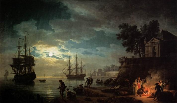 Клод Жозеф Верне (1714–1789). Порт в лунную ночь. 1771. Холст, масло. 98х164 см. Лувр, Париж.