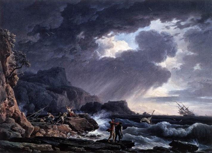 Клод Жозеф Верне (1714–1789). Ночной шторм. 1752. Холст, масло. 73х98 см. Частная коллекция.