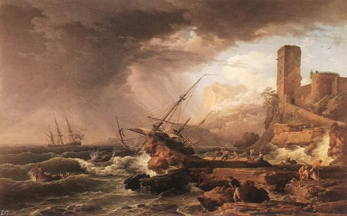 Клод Жозеф Верне (1714–1789). Шторм и кораблекрушение. 1754. Холст, масло. 87х137 см. Собрание Уоллес, Лондон.