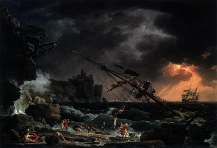 Клод Жозеф Верне (1714–1789). Кораблекрушение. 1772. Холст, масло. 114х163 см. Национальная галерея искусств, Вашингтон.
