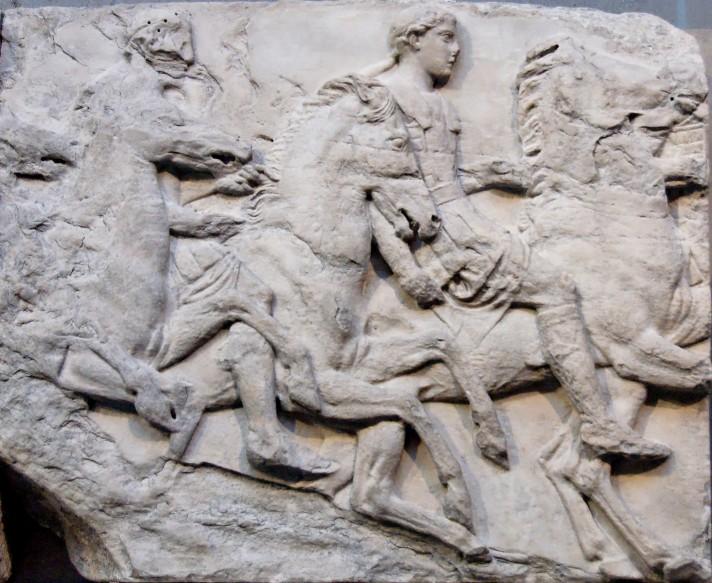 Неизвестный автор. Кавалькада. Панель фриза Пантеона. Около 447 – 433 г. до н.э. Мрамор. Британский музей, Лондон.