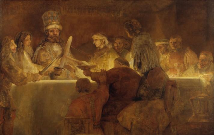 Рембрандт Хаарменс ван Рейн (1606–1669). Заговор Клавдия Цивилиса. Сохранившаяся центральная часть картины. 1661. Масло, холст. 196х309 см. Национальный музей Швеции, Стокгольм.