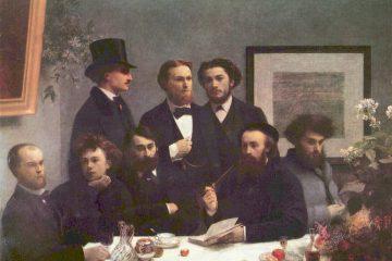 Анри Фантен-Латур (1836-1904). Поэты. 1872. Масло, холст. 160х225 см. Музей д'Орсе, Париж. Слева сидят Поль Верлен и Артюр Рембо.