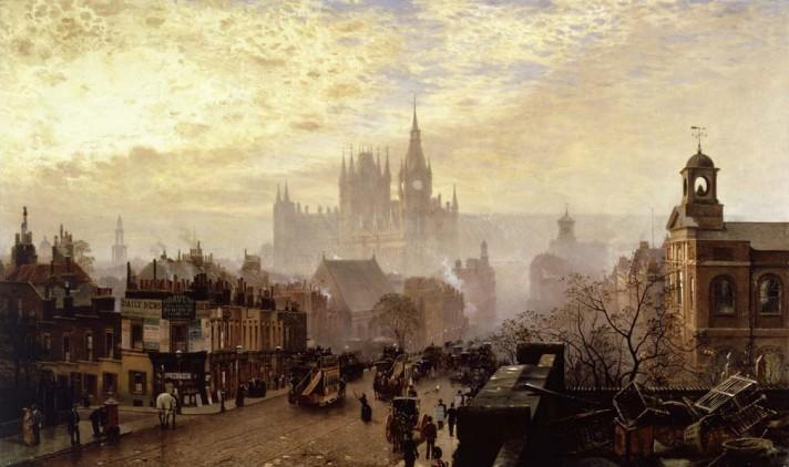 Джон о'Коннор (1830–1889). Западный вечерний вид на Пентонвилль-роад. 1884. Музей Лондона.