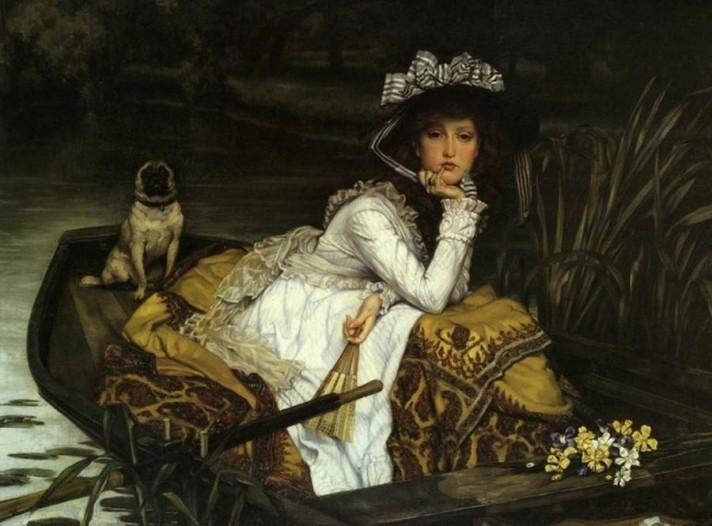 Джеймс Тиссо (1836–1902). Юная леди в лодке. Масло, холст. 50х85 см. Частная коллекция.